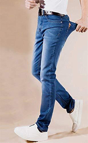 Gambe Casuali Ragazzi Pantaloni Moda Casual Classiche Slim Uomini Jeans Stretch Dritte Dunkelblau Grande Formato 1nPw5q7