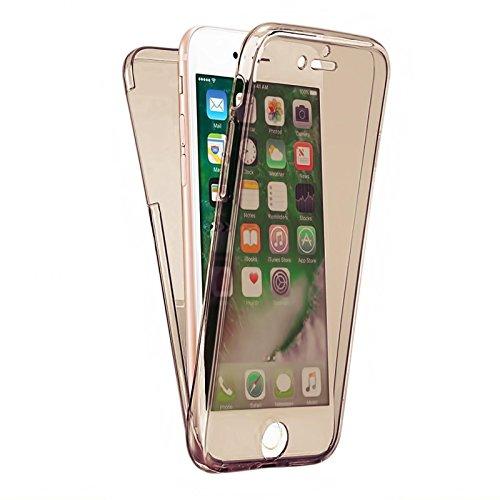 Apple iPhone 7 360° Full Body TPU Schutz Hülle Silikon Touch Case für Vorder und Rückseite Handy Tasche Cover Etui Bumper Farbe: Gold