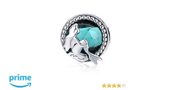 Mermaid - Abalorio de plata de ley 925, diseño de sirena faltante con cuentas redondas, para mujer, collares y bisutería