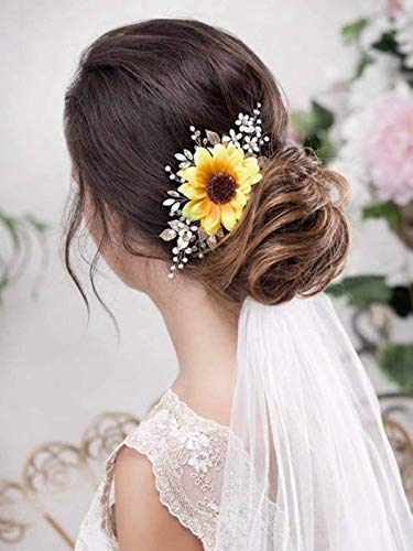 Barogirl Bridal Sunflower Hair Comb Clip Crystal Bride Gold Wedding Hair Accessories for Women -