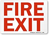 Fire Exit (red on white) Sign, 14'' x 10''
