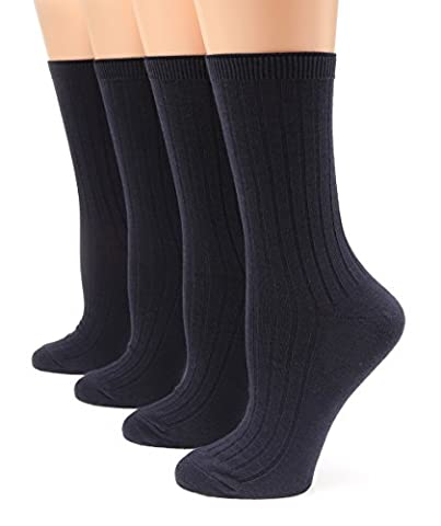 MIRMARU Women's Everyday 4Pairs Solid Colors Cotton Blend Casual Crew Socks.(Navy) - Blue Color Cotton