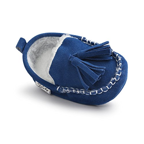 Kuner Baby Boys Girls HandmadeTassel Plush Soft Soled Non-slip Winter Warm Moccasins First Walkers Shoes 0-18 Months (11cm(0-6months), Blue)