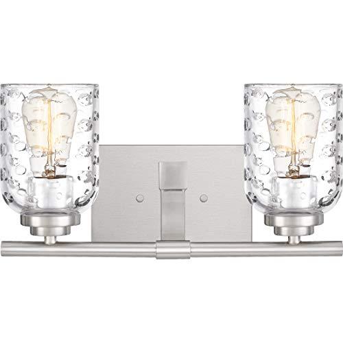 (Quoizel CRI8602BN Cristal Bubble Cut Glass Bath Vanity Wall Lighting, 2-Light, 200 Watts, Brushed Nickel (7