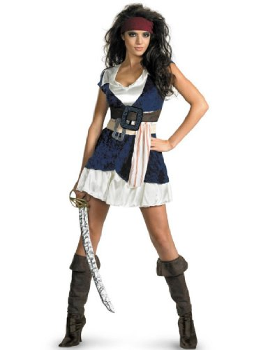 Disguise Unisex Adult Sassy Jack Sparrow, Blue/White, X-Large (18-20) Costume (Disney Couples Costume)