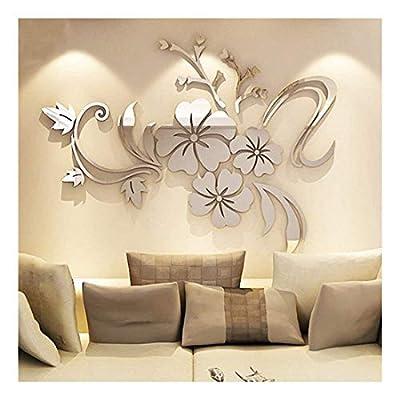YINGYUAN 1 Piece Set Acrylic Art 3D Mirror Flower Wall Sticker DIY Home Wall Decal Decoration Sofa TV Wall Removable Wall Sticker 120X90cm (Silver)