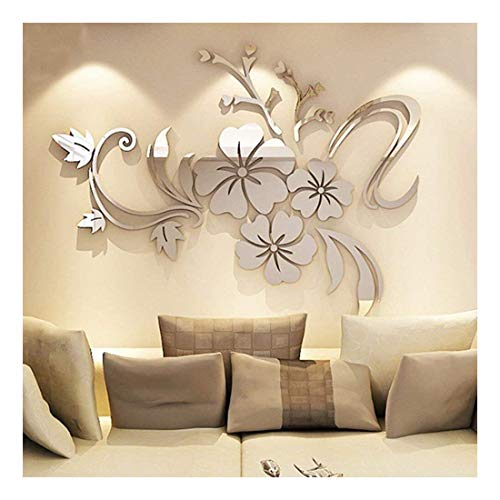 YINGYUAN 1 Piece Set Acrylic Art 3D Mirror Flower Wall Sticker DIY Home Wall Decal Decoration Sofa TV Wall Removable Wall Sticker 120X90cm (Silver) ... (Sliver)