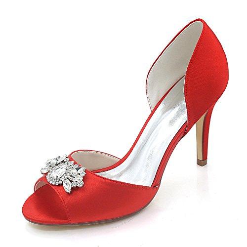 L@YC Zapatos de mujer Cómodo Zapatos de novia Tacón fino Peep Toe Boda Nocturna y Multicolor Red