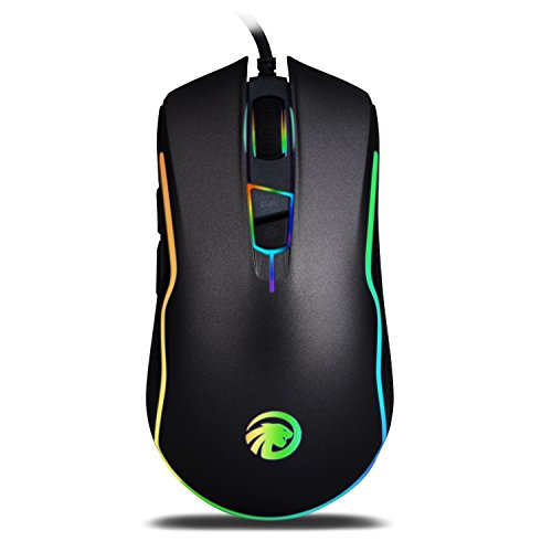Game Mouse with RGB Backlit – Ergonomic Optical Wired USB Gaming Mice with 9 Programmable Buttons 7 Shooting LED Colors 4000 DPI for PC/Laptop/Desktop/Computer – Black