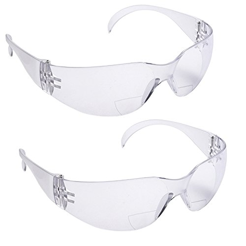 2 Pairs Bifocal Protective Safety Glasses Reading Lens Clear Top (Diopter +1.50)