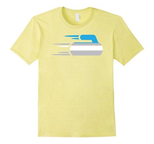 Mens Curling Stone T-Shirt | Blue Handled Rock XL Lemon (Lemon Handled)