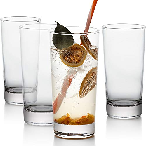 (GoodGlassware Highball Glasses (Set of 4) 13.5 oz - Tall Drinking Glass with Heavy Base - for Water, Juice, Cocktails, and Beverages - Lead Free, Dishwasher Safe, Perfect for Kitchen & Bar)