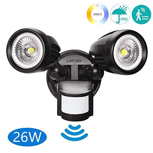 (LOFTEK 26W LED Security Light with Motion Sensor, Adjustable Dual-Head Full Metal Body Dusk to Dawn Floodlight, Automatic Sensor 3 Lighting Modes, 2700lm, 5000K, 250W Incandescent Equiv Outdoor Light)