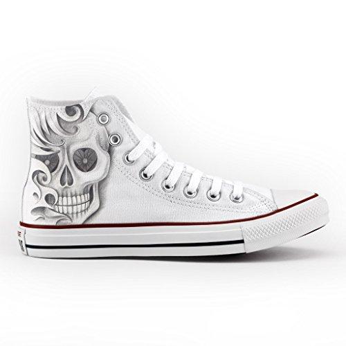 Converse Multicolor con stampa Personalizzate artigianale Drawn skull scarpa 1rq18WBP