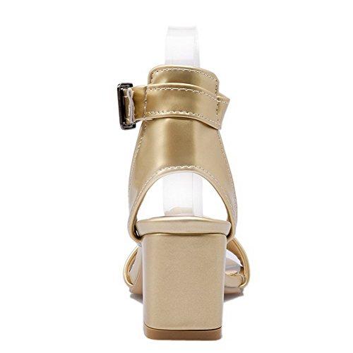 AllhqFashion Womens Solid PU Kitten-Heels Open Toe Buckle Sandals Gold prYfIx