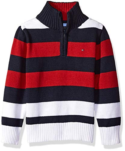 Tommy Hilfiger Toddler' Boys' Long Sleeve Half Zip Pullover Sweater, Randy Scarlet Sage, 2T