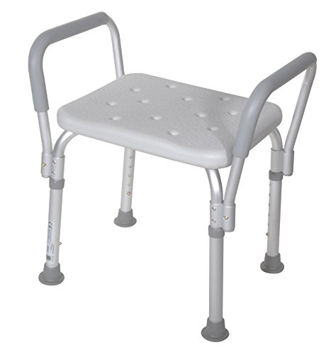 Drive Medical 12440-1 Bath Bench with Padded Arms, White