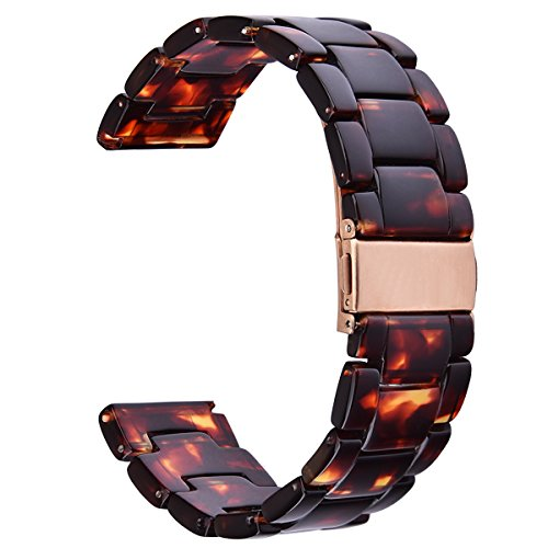CAGOS Compatible Samsung Galaxy Watch (46mm) Bands/Gear S3 Frontier/Classic Bands - 22mm Fashion Resin Bracelet Strap with Metal Stainless Steel Buckle Replacement for Gear S3 Smartwatch (Tortoise)