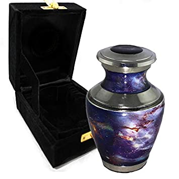 Cosmic Galaxy Universe Cremation Urns for Adult Ashes for Funeral, Niche or Columbarium, 100 Brass, Cremation Urns for Human Ashes Adult 200 Cubic inches Cosmic Galaxy, Small Keepsake