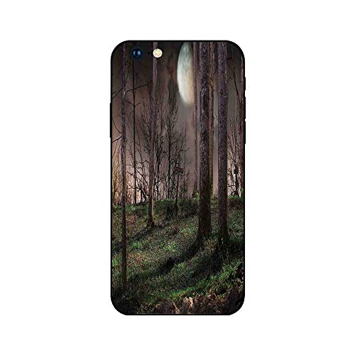 Phone Case Compatible with iphone6 iphone6s mobile phone covers phone shell Brandnew Tempered Glass Backplane,Gothic,Dark Night in the Forest with Full Moon Horror Theme Grunge Style Halloween,Brown G