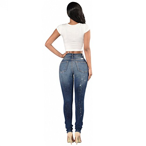 Pantaloni Skinny Donna Scarni Stile 4 Strappati Jeans Vintage Sentao Leggings Ginocchio 6qxOwZ