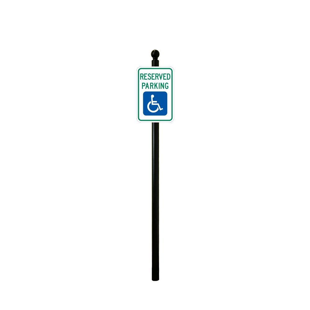 Reflective Reserved Handicap Parking Sign with Decorative Sign 8ft Post (Small Ball Finial with No Base)