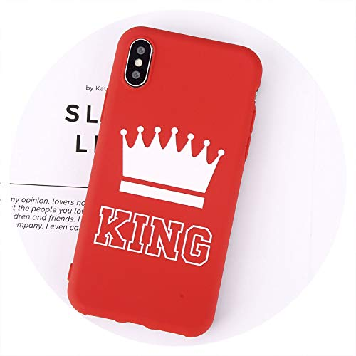 Candy Color King Queen Crown Phone Cases for iPhone X Case for iPhone 8 7 6 6s Plus Chic Plain Soft TPU Cover Back Case,Red King,for iPhone 6 6S Plus ()
