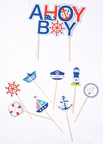 PAPER JAZZ Nautical Party AHOY Ocean Theme Cupcake Toppers for Baby Boy Birthday Baby Showers Event Party Decoration (AHOY BOY) ()