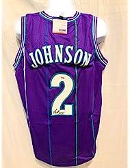 Larry Johnson Charlotte Hornets Signed Autograph Purple Custom Jersey JSA  Witnessed Certified 32b051e04