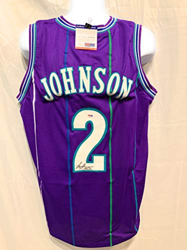 - Larry Johnson Charlotte Hornets Signed Autograph Purple Custom Jersey JSA Witnessed Certified