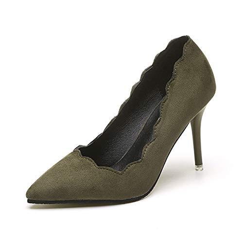 Yukun zapatos de tacón alto Tacones De Aguja Zapatos De Tacón Alto De Gamuza Femenina Zapatos De Aguja Femenina Femenina Profesional Stiletto Armygreen