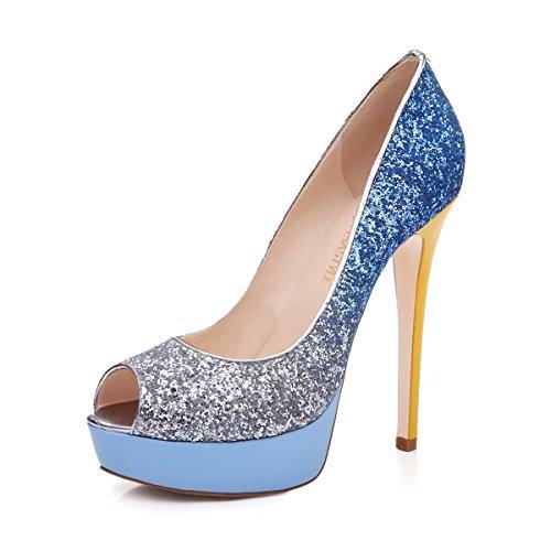 Multicolore Peep Open Taille Bleu Femme Plateforme Toe Chaussures Sandales uBeauty Grande Toe Escarpins S6PUZwq