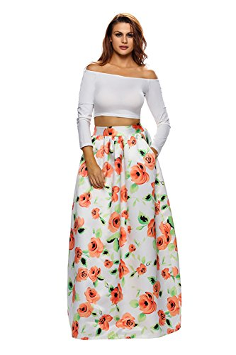 e9abb11f326 VIGVOG Women s Ethnic Plus-Size African Print Pull-on Pleated Maxi A-line  Skirt