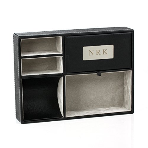 OnePlace Gifts Personalized Faux Leather Valet Tray, Nightstand or Dresser Top Organizer for Men, 5 Compartment Catch-All for Accessories ()