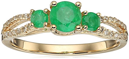 10k Gold Emerald and TDW Diamond Ring, Size 6
