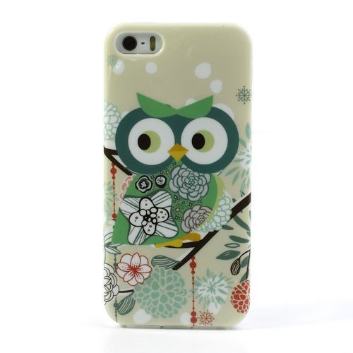 Apple iPhone SE 5 5S Handy Tasche TPU IMD Case Cartoon Owl Motiv Skin Schutz Hülle Cover Grün