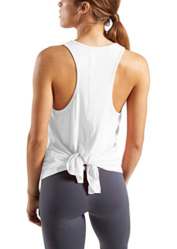 Bestisun Split Back Wokrout Yoga Tops Cute Teen Girls Activewear Sports Fitness Gym Muscle Outfits Womens Solid Adjustable Tank Tops Stretch Classic Running Holiday Petite Shirts for Women White -
