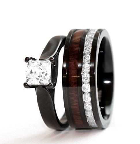 2 pc Natural Koa Wood Black Stainless Steel Cubic Zirconium Engagement Wedding Band Rings Set Durable (9)
