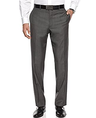 Calvin Klein Slim Fit Gray Textured Flat Front New Men's Dress Pants