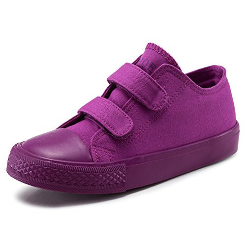 Price comparison product image Boy's Girl's Low-Top Casual Strap Canvas Sneakers, Purple, Big Kid, Size 4