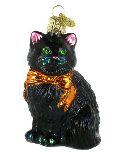 Old World Christmas Ornaments: Halloween Kitty Glass Blown Ornaments for Christmas Tree ()