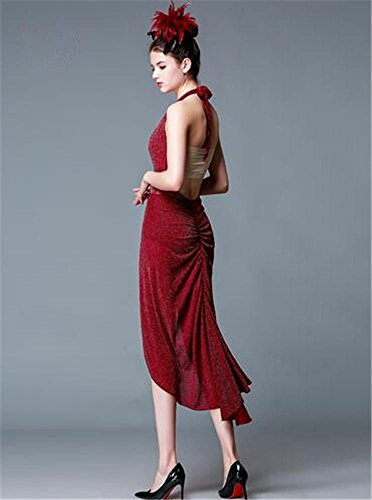 mujer funcionamiento vestido Baile de latino la de demostración etapa red Backless danza de la la vestido f del p6ptUqYxw