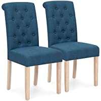 Best Choice Products Set of 2 Tufted High Back Parsons Dining Chairs (Blue)