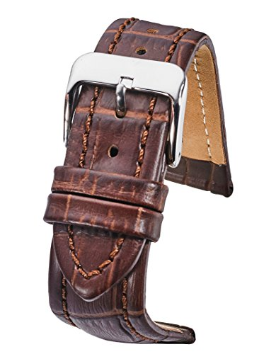 Genuine Padded Leather Watch Band in Alligator Grain Finish - Brown -24mm