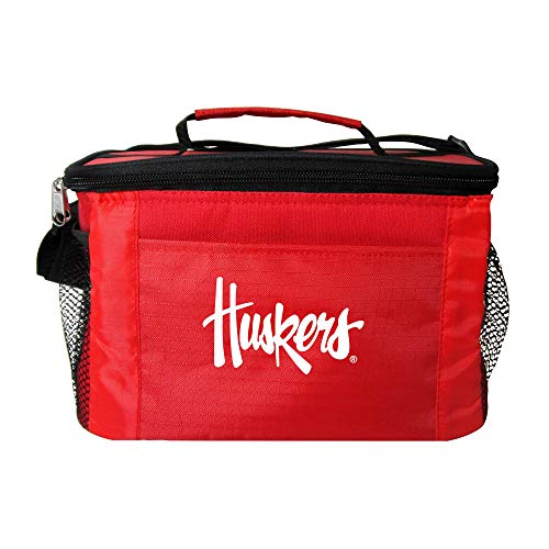 NCAA Nebraska Cornhuskers Team Logo 6 Can Cooler Bag or Lunch Box - Red