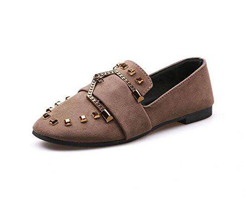 KUKI Quadratische Schuhe flache Schuhe weiche flache Schuhe Gürtelschnalle einzelne Schuhe 3