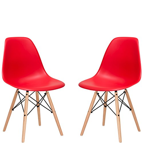 Poly and Bark Vortex Side Chair, Red, Set of 2
