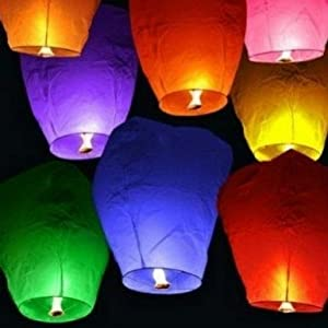 ANLEY [Premium Sky Lantern] Large Chinese Flying Paper Lanterns for Wedding Birthday Summer Camping Party - Assembled with Fuel Cell - Flame Retardant Biodegradable - 38 inch (White, Pack of 10)