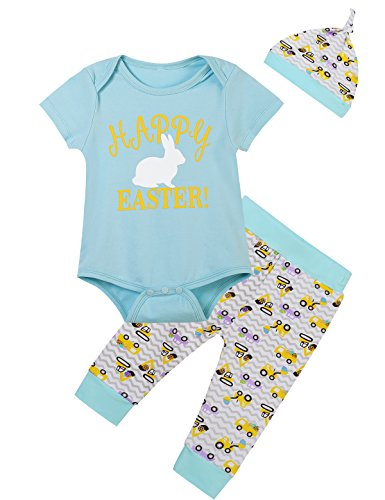 Lorjoy Baby Boys' Happy Easter Bunny Printed Outfit Set Short Sleeve Romper (12-18 (Easter Baby Boy Outfits)