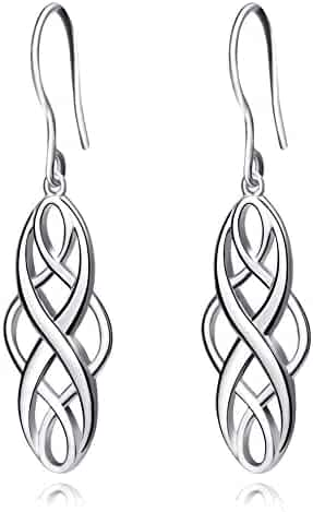 S925 Silver Earrings Solid Sterling Silver Polished Good Luck Irish Celtic Knot Vintage Dangles